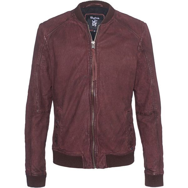 TIGHA Juris Burgundy // Red leather bomber-jacket ($335) ❤ liked on Polyvore featuring men's fashion, men's clothing, men's outerwear, men's jackets, mens leather jackets, mens leather bomber jacket, mens red leather jacket, mens slim leather jacket and mens leather flight jacket