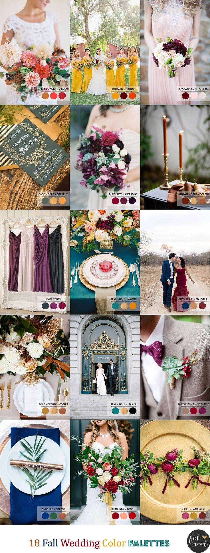 18 Fall Wedding Color Palettes | Autumn wedding colour combinations | http://www.fabmood.com/18-fall-wedding-color-palettes/ #fallweddingtheme #fallwedding: