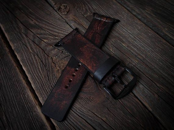 Vintage Distressed Apple Watch Band Strap Handmade leather