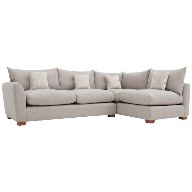 This corner sofa is made up of two sections held together underneath. Two large pillow cushions and four scatter cushions are supplied with this corner sofa.