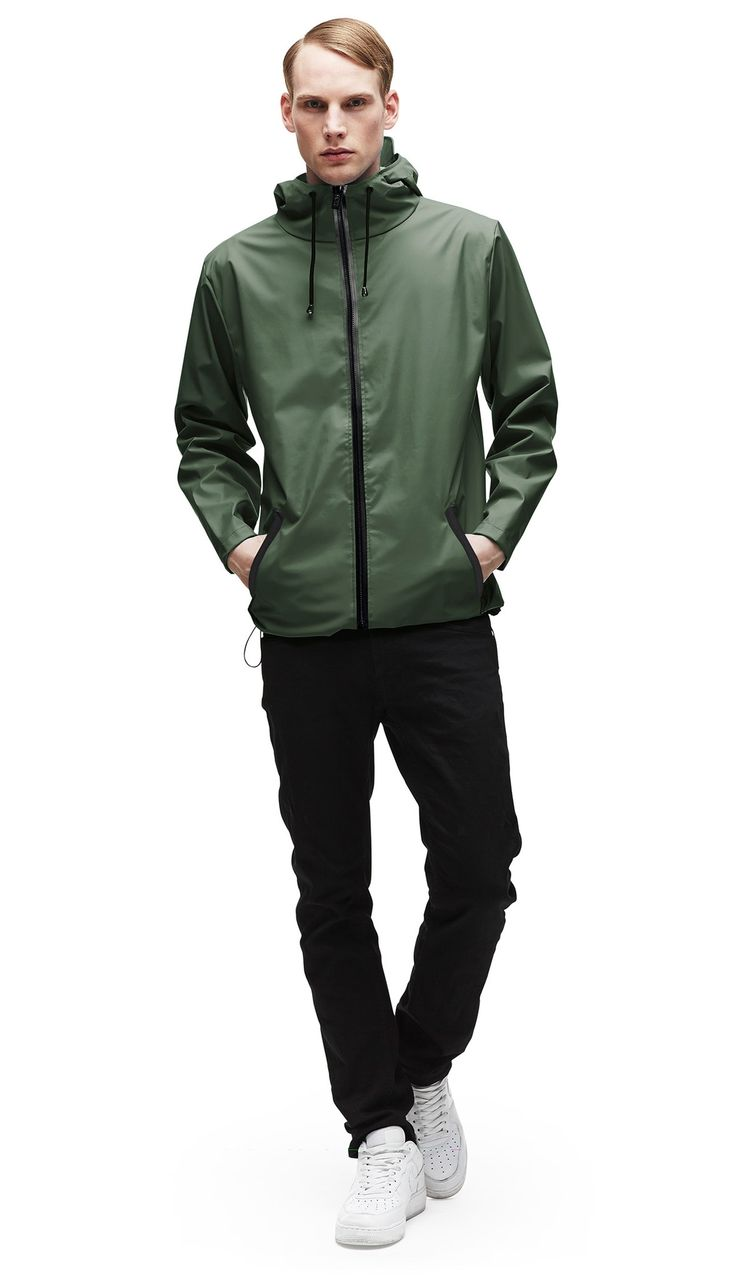 RAINS // Breaker Jacket Green The Breaker is the outdoor sport jacket solution - it has the classic cut of the RAINS jacket but has added functions makig the style more flexible for exploring the outdoor. It is a casual fit, has a waterproof zipper closing in the front, two outside zipper pockets with waterproof zips, adjustable hood with practical cap function, air circulation holes under the back sheild for ventilation, two ventilated eyelets under each arm, all inside seams has been…