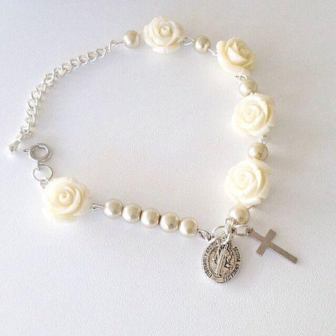 Rosa pulsera del Rosario. por Beautifyyou en Etsy