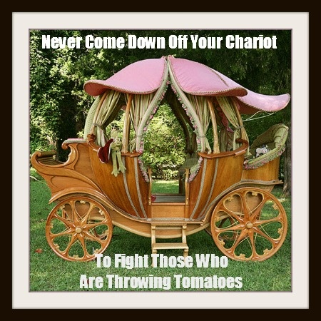 Never come down off your chariot to fight with those who are throwing tomatoes.