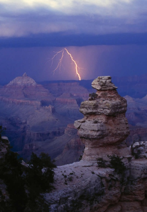Lightning storm in the Grand Canyon.