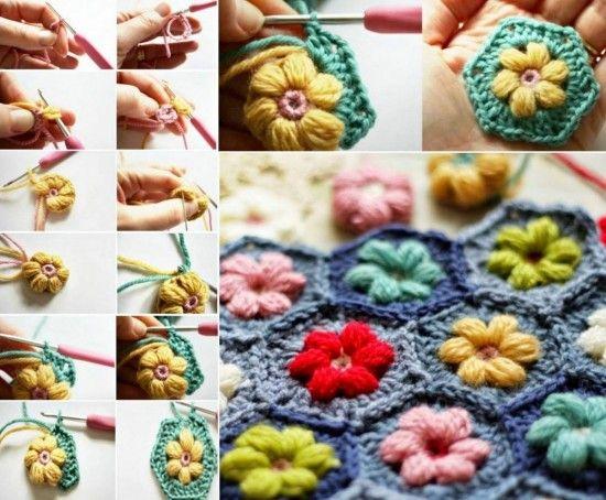 Daisy Hexagon Free Crochet Pattern