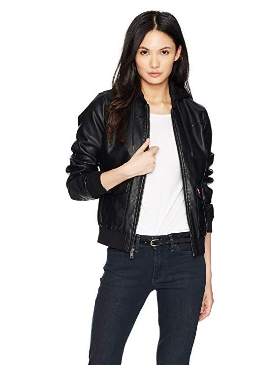 49bd4c2d5e3e2 Levi s Women s Two-Pocket Faux Leather Hooded Bomber Jacket - Blogging ERA
