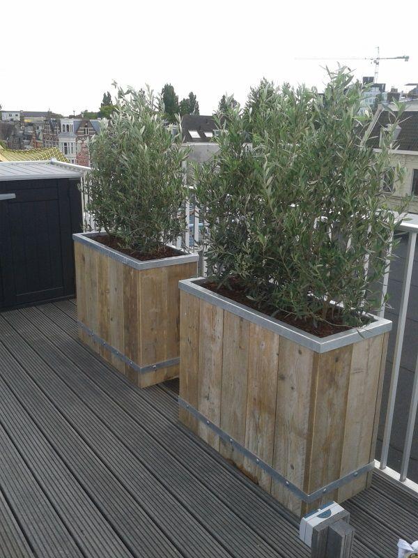 Plantenbakken verzinkt staal en steigerhout