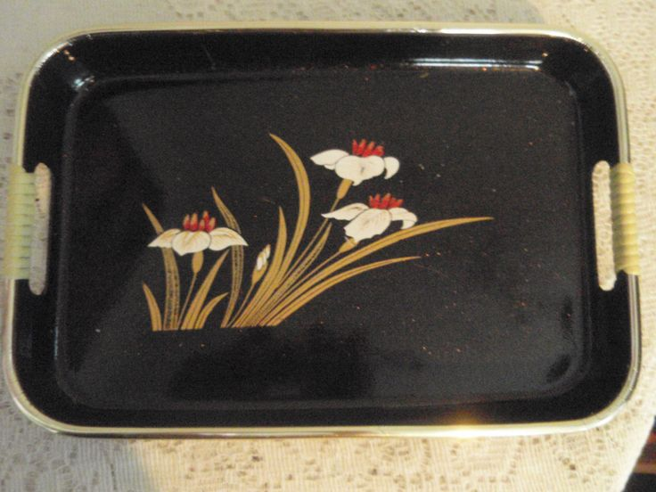 Asian Style Tray, Black Asian serving tray, Lacquered look tray, Mid Century Plastic Tray with wrapped handles, Retro serving tray by SocialmarysTreasures on Etsy