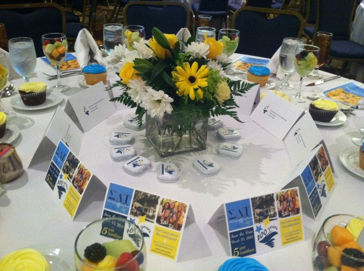 Table Settings from the #SDT Alumnae Luncheon....love this for a Zeta Day or Homecoming!