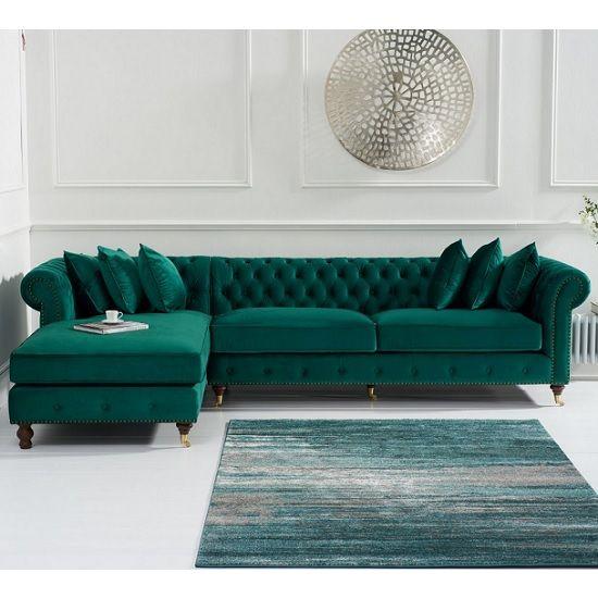 Nesta Chesterfield Left Corner Sofa In Green Velvet ...
