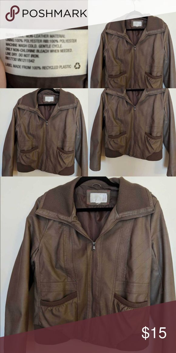Tan Leather-Like Jacket Target Brand Comfy jacket excellent used condition❤️ This is the Target juniors brand so it fits like a large even though it is marked as an XL Xhilaration Jackets & Coats