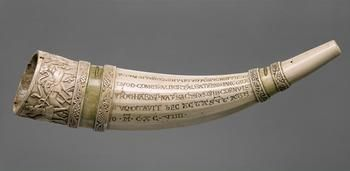 hunting horn or oliphant assignment This oliphant--a carved elephant tusk in the shape of a hunting horn--was likely carved in an arab ivory workshop in south italy or sicily it is masterfully shaped, with a series of six carved bands, the outer ring depicting scenes from a hunt.
