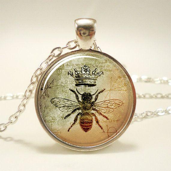Collier de la Reine abeille, Royal Crown insecte Art pendentif, bijoux Bee (1088S1IN)