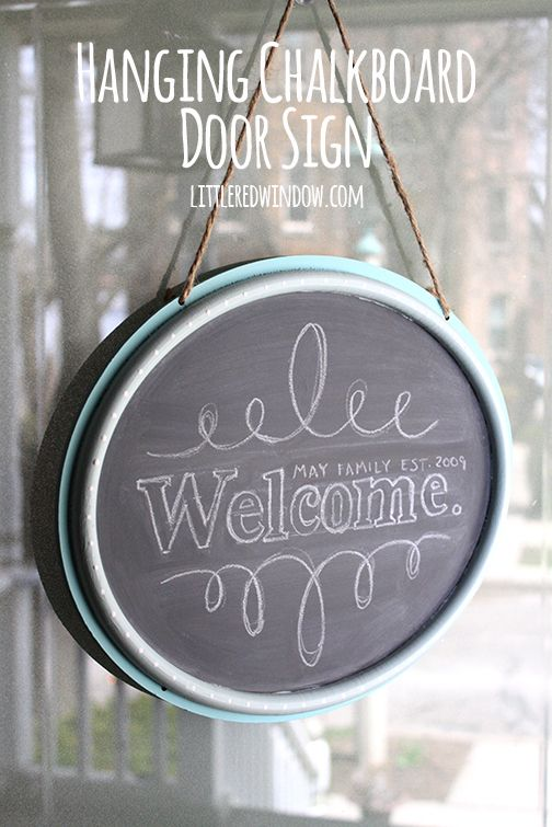 DIY Hanging Chalkboard Door Sign | littleredwindow.com | Personalize a plain door sign from the dollar section for your home!
