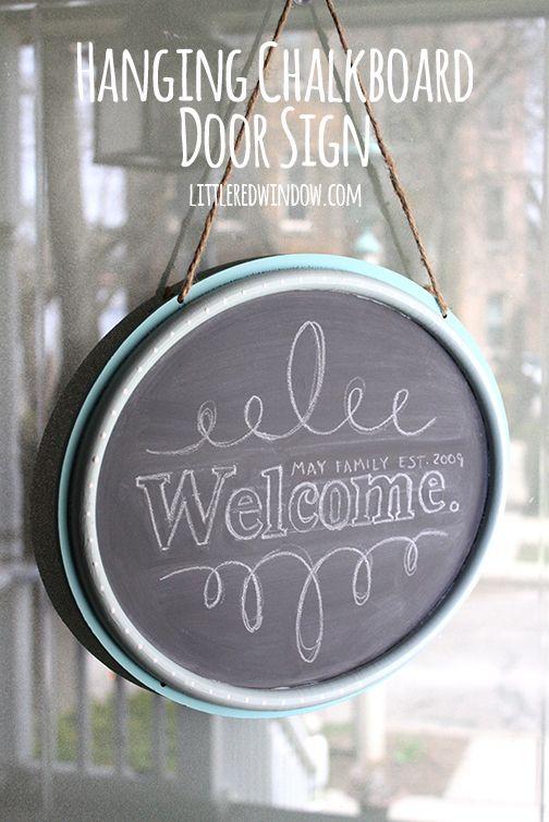 Diy Hanging Chalkboard Welcome Door Sign The O Jays