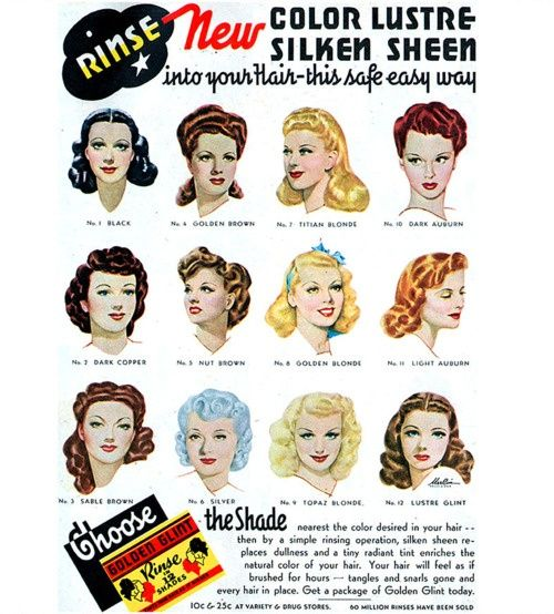 Golden Glint hair Rinse advert from the 40s