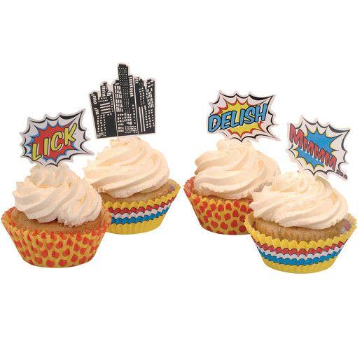 Cupcake Deko Set – Pop Art Superhero