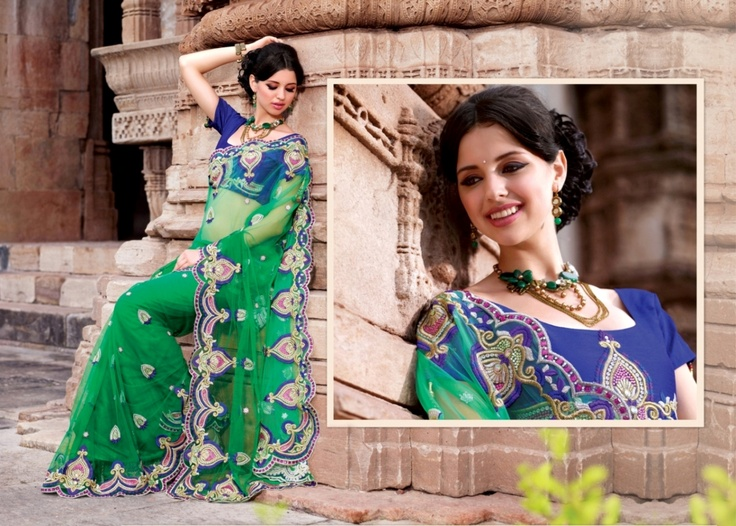 Peacock green and blue colour combination will make you gaga  over this saree. It is a must colour combination for your wardrobe collection.     For more details visit www.ashika.com