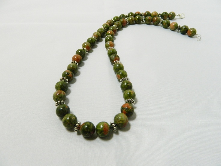 8mm semi precious unakite green/brown and peach necklace with metal spacers and trigger clasp.  Length 19 inches.  Price £18
