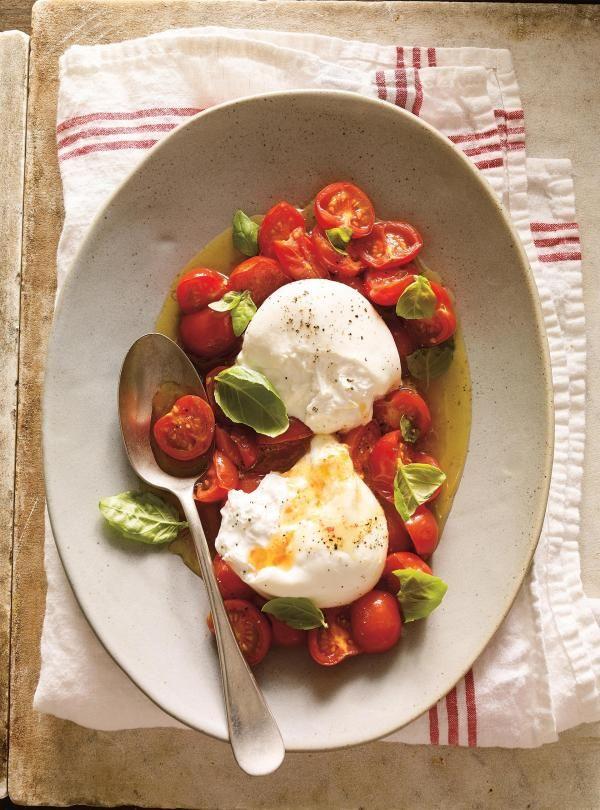 Recette de burrata à la tomate cerise confite de Ricardo
