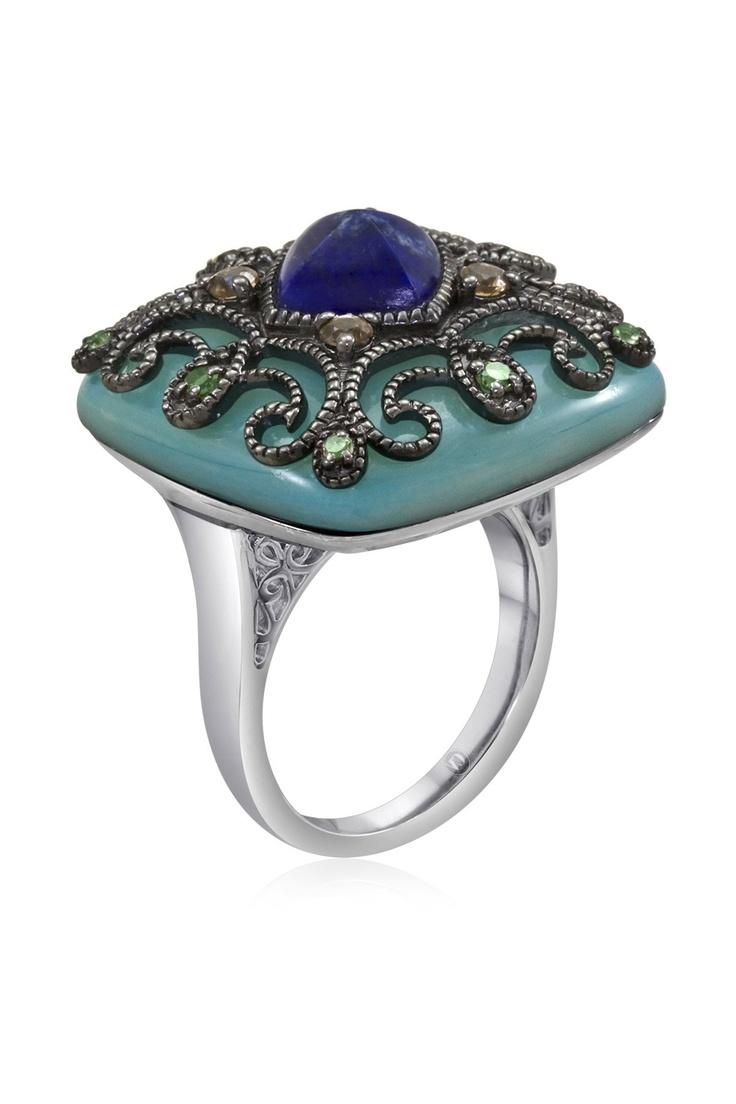 carlo viani filigree blue mother of pearl square ring com sumo pinterest filigree. Black Bedroom Furniture Sets. Home Design Ideas
