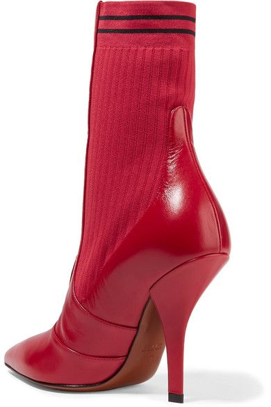 Fendi | Rockoko stretch-knit and leather sock boots | NET-A-PORTER.COM