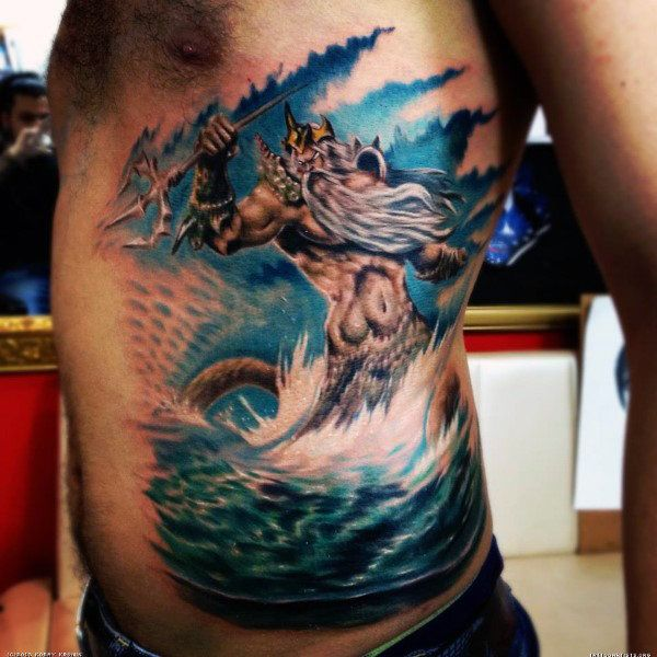 Side rib cage greek god poseidon tattoos for men tattoos for Higher ground tattoo