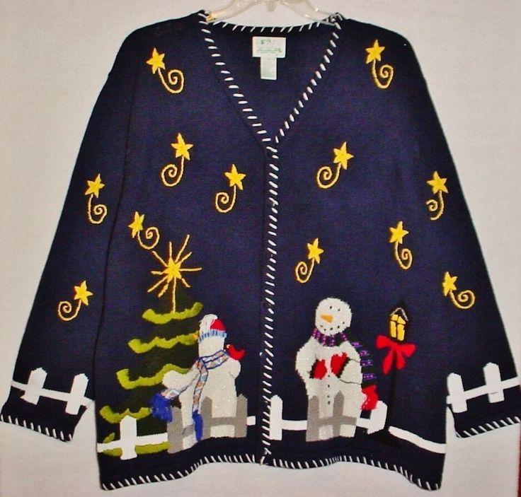Ugly QUACKER FACTORY 2X Freaky Snowman CHRISTMAS Cardigan Sweater, Black #QuackerFactory #Cardigan