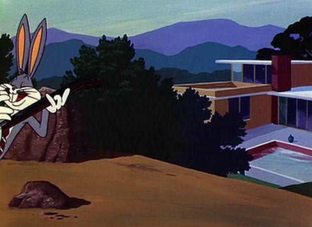 """Richard Neutra's Kaufmann House (1946) as seen in """"Long-Haired Hare"""" (1949) Bugs Bunny, Chuck Jones."""