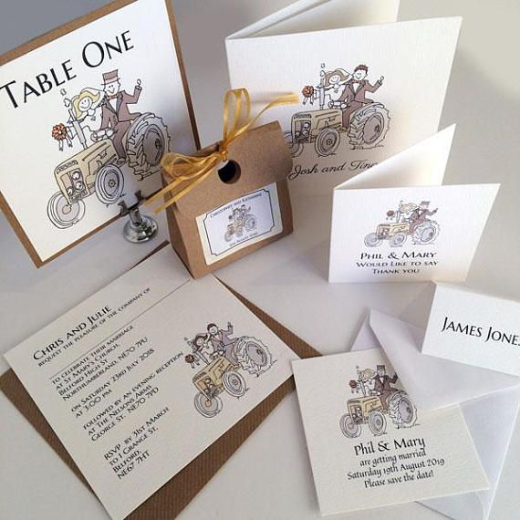 Farmer Tractor Wedding Handmade invitation and Stationery