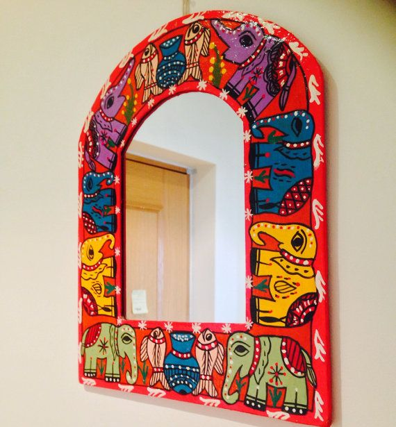 Handpainted mirror india nepal madhubani by TheFarEastArtStudio