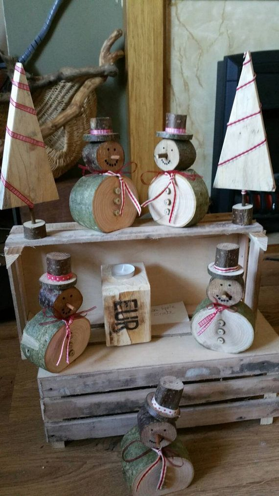 Log snowman rustic Christmas decorations by ReclaimedEarthArt