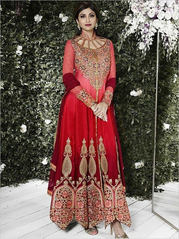 Red Partywear Satin Suit