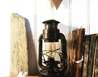 Old oil lamp electrified storm lantern, vintage lighting lamp oil lamp