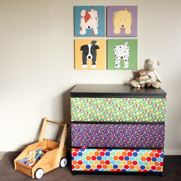 #IKEAhack: cover the drawers of the Malm dresser with fabric for a fun pop of color in the #playroom!: Colors Playrooms, Kids Dressers, Covers Drawers, Kids Spaces, Playrooms Inspiration, Projects Nurseries, Colour Playrooms, Playrooms Media Area, Kids Rooms