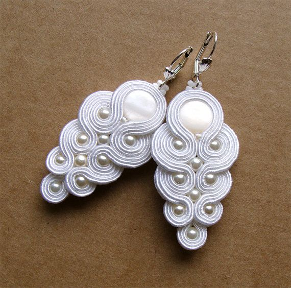Soutache earrings bridal wedding bride jewelry by WoodLoveArt, $65.00