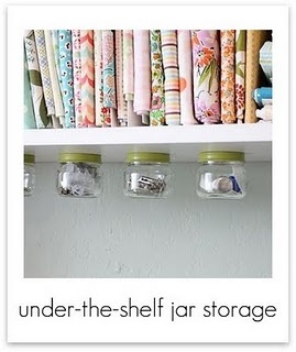 I need to do this on my sewing shelf.  I knew I was holding on to those baby food jars for something!
