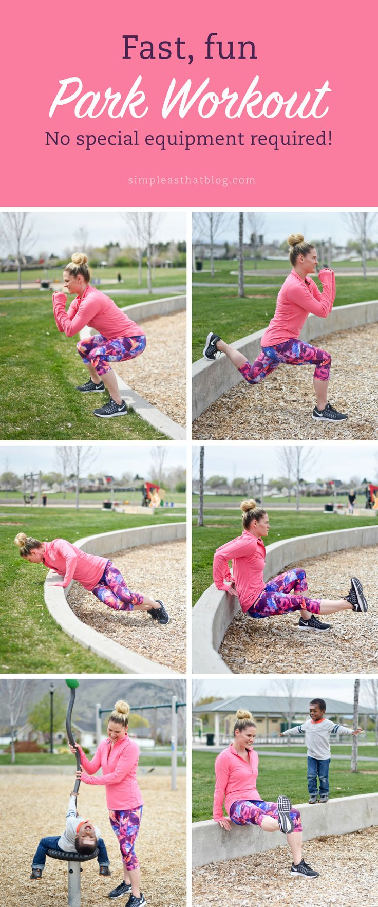This park workout is a quick, challenging circuit you can squeeze in between swings, slides, and monkey bars. No equipment needed!