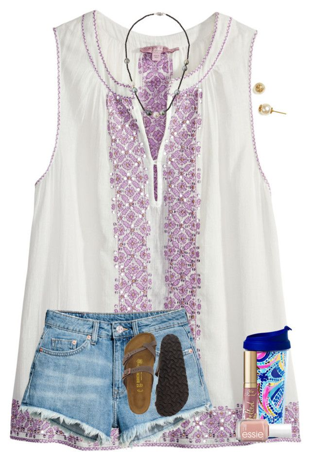 """""""almost done painting my room! """" by preppy-renee ❤ liked on Polyvore featuring Calypso St. Barth, Birkenstock, Belpearl, Tory Burch, Lilly Pulitzer and Essie"""