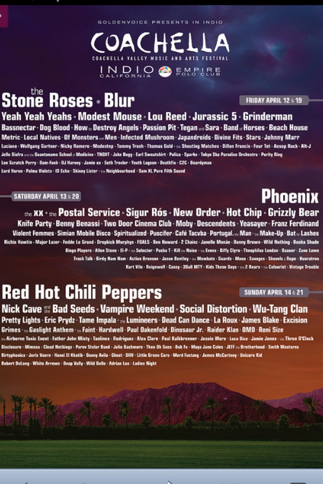 Coachella 2013 line up!- #coachella #palmsprings