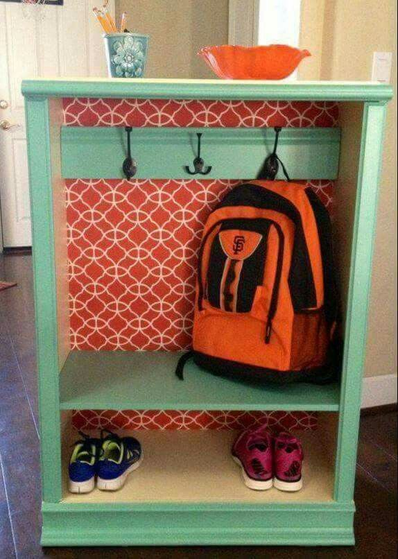 Old dresser turned into a backpavk and shoe holder.