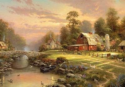 Plaid Paint By Numbers Thomas Kinkade- Sunset at Riverbend Farm Paint by Number (16''x20'')