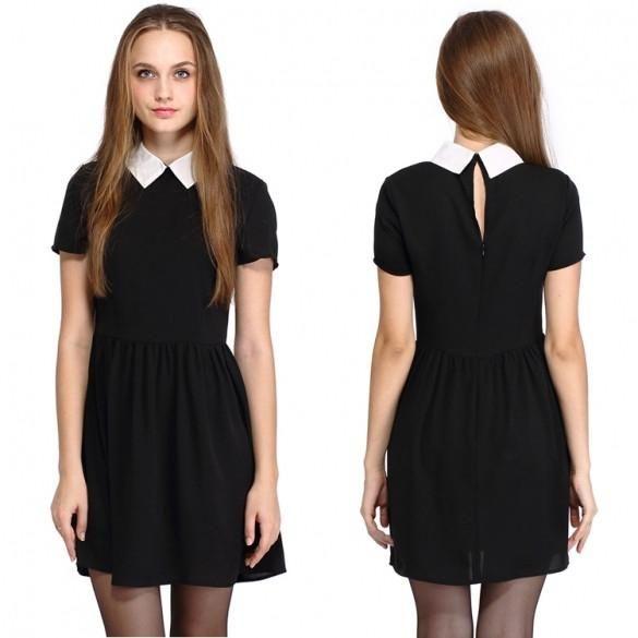 New European Style Lady Women's Short Sleeve Doll Collar Chiffon Dress