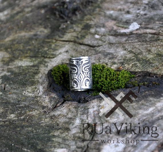 Viking beard ring  Silver plated bronze  Not heavy - 4.6g  Size: 14mm x 9,5mm Inner diameter: 7mm   The model was completely hand carved by me in wax.