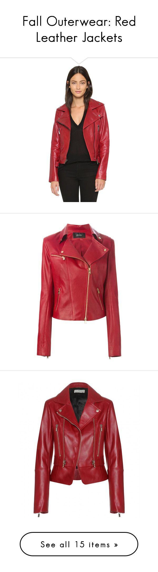 Leather jacket olx -  Fall Outerwear Red Leather Jackets By Polyvore Editorial Liked On Polyvore