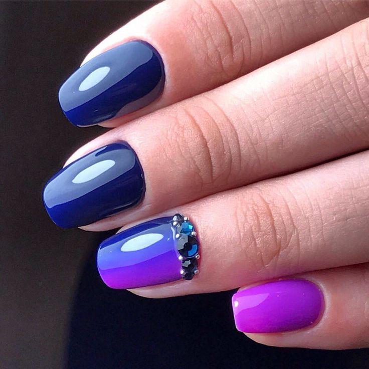 Excellent nails, Insanely beautiful nails, Medium nails, Nail polish for blue dress, Obmre nails, Party nails, Party nails ideas, Spring summer nails 2017