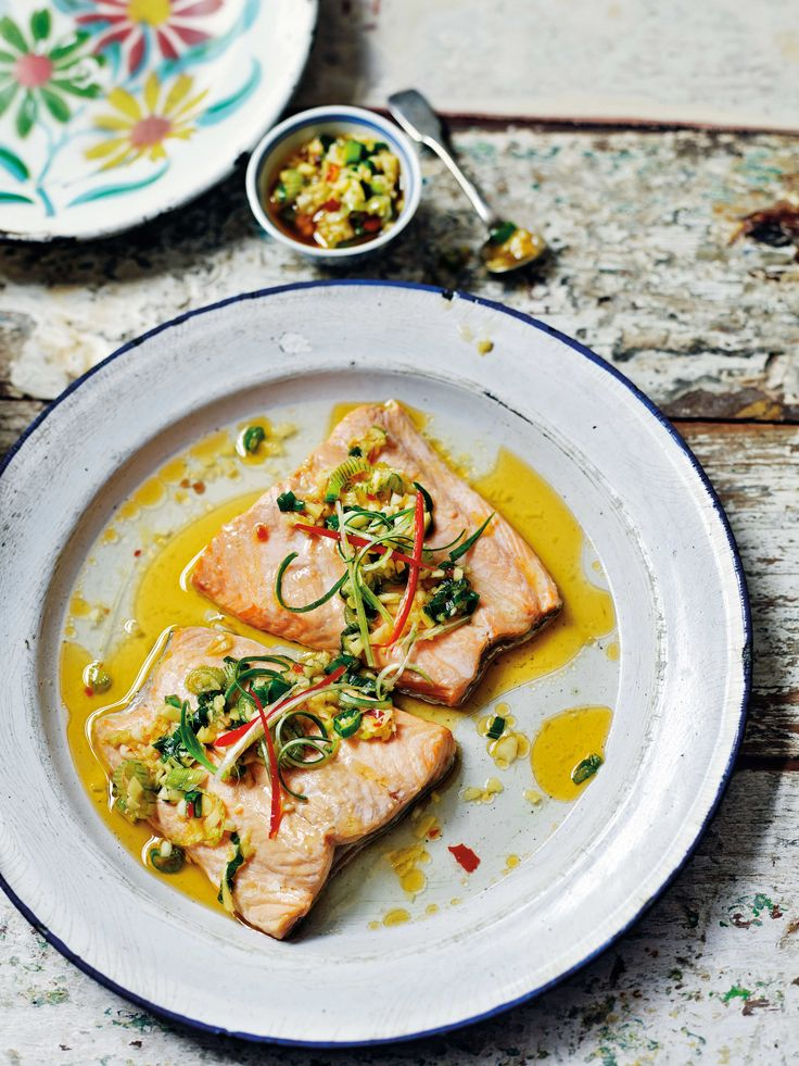 Steamed trout with ginger, chilli and garlic sauce. For the full recipe, click the picture or see www.redonline.co.uk