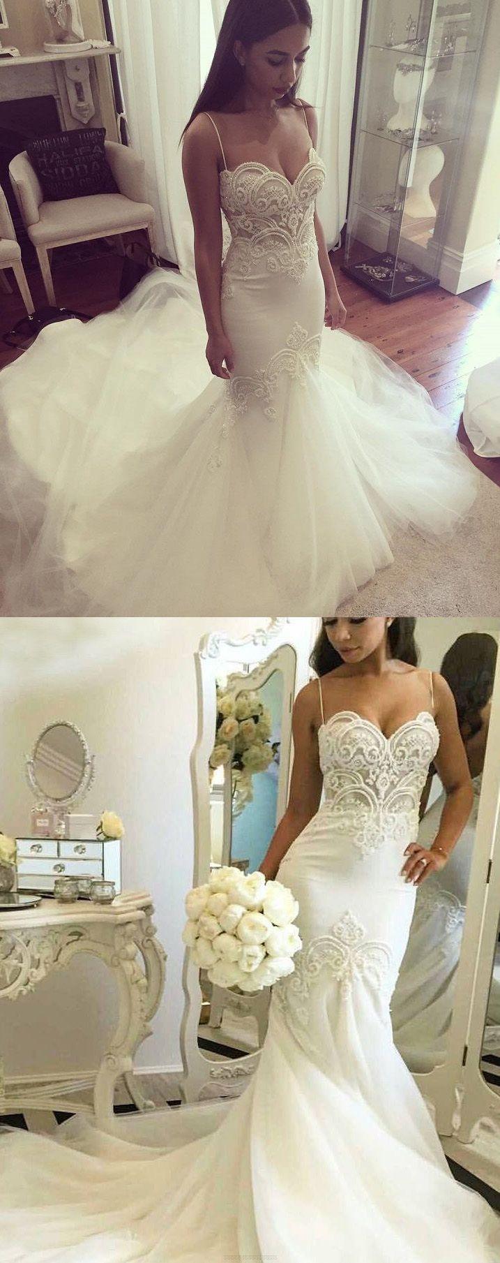 Sleeveless Wedding Dresses, White Sleeveless Wedding Dresses, Long Wedding Dresses, Sexy Wedding Dresses Trumpet/Mermaid Sweep/Brush Train Bridal Gown