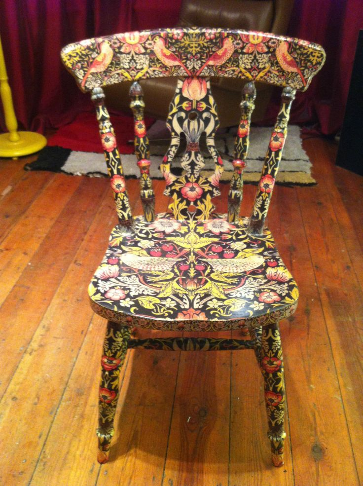 William Morris Strawberry Thief Decoupage Chair in by NovaLorsten, $182.56