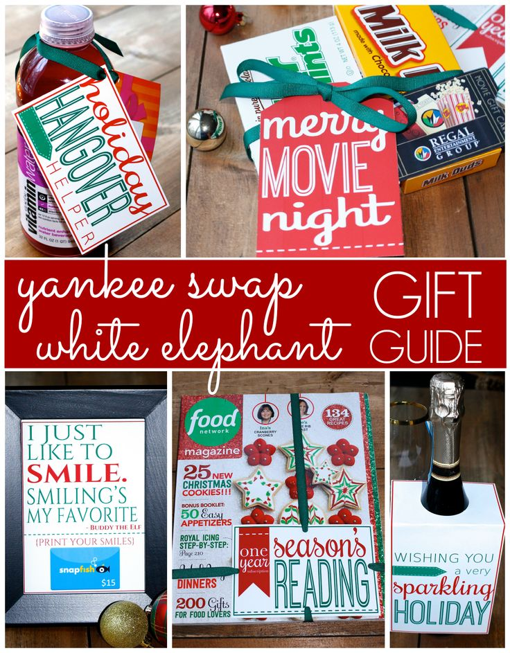 Yankee Swap and White Elephant Exchange gift ideas with free printables